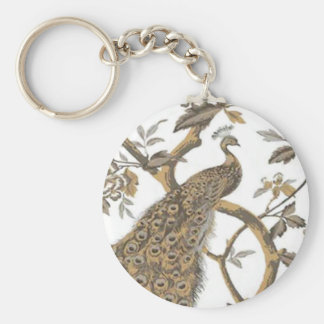Elegant Peacock On White Key Chain