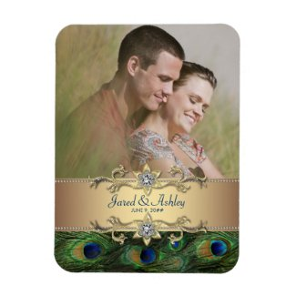 Elegant Peacock Photo Save The Date Magnets