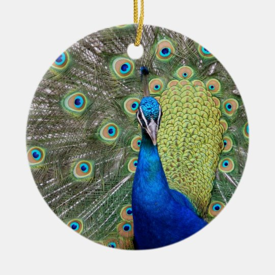 Elegant Peacock Photograph Ceramic Ornament
