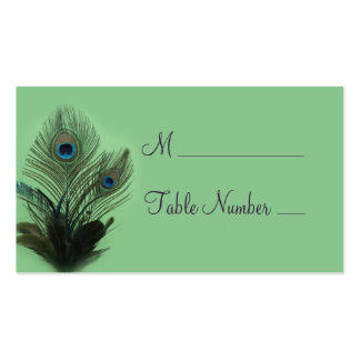 Elegant Peacock Place Card (green) Business Card Template