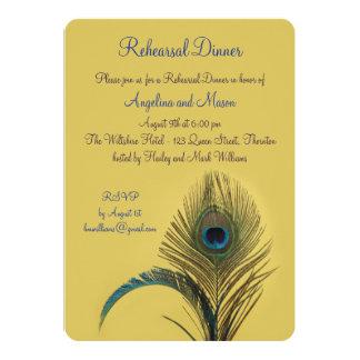 Elegant Peacock Rehearsal Dinner (yellow) Card