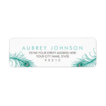 Elegant Peacock Return Address Labels