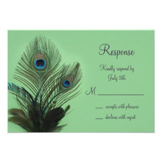 Elegant Peacock RSVP (green) Personalized Announcements