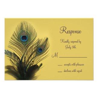 Elegant Peacock RSVP (yellow) Announcements