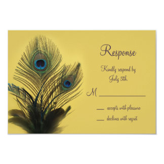 Elegant Peacock RSVP (yellow) Card