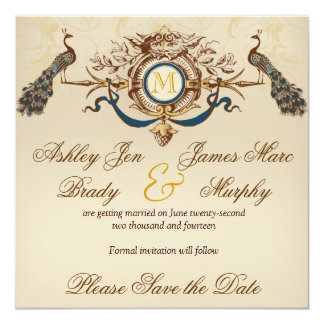Elegant Peacock Save the Date Cards