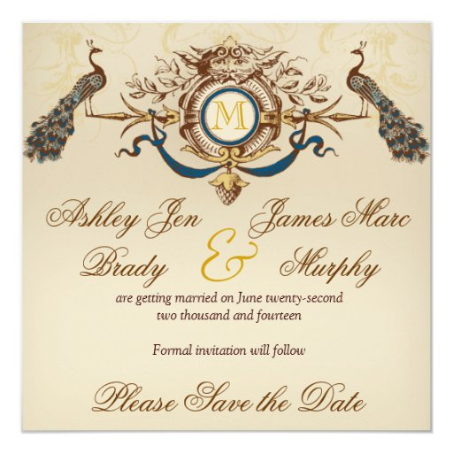 """Elegant Peacock Save the Date Cards 5.25"""" Square Invitation Card"""