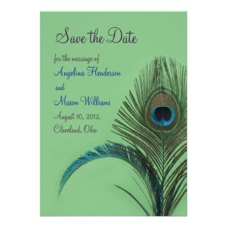 Elegant Peacock Save the Date (green) Personalized Announcements