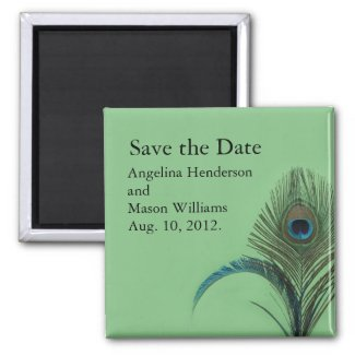 Elegant Peacock Save the Date Magnet (green)