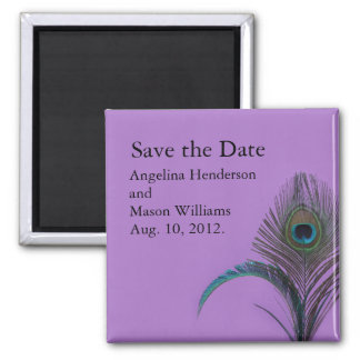 Elegant Peacock Save the Date Magnet (purple)