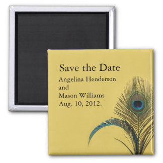 Elegant Peacock Save the Date Magnet (yellow)