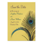 """Elegant Peacock Save the Date (yellow) 5"""" X 7"""" Invitation Card"""