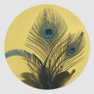Elegant Peacock Sticker (yellow)