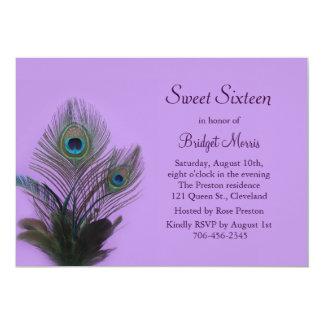 Elegant Peacock Sweet Sixteen Invitation purple