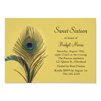Elegant Peacock Sweet Sixteen Invitation yellow