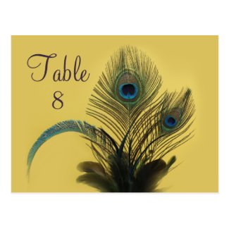 Elegant Peacock Table Number (yellow) Post Cards