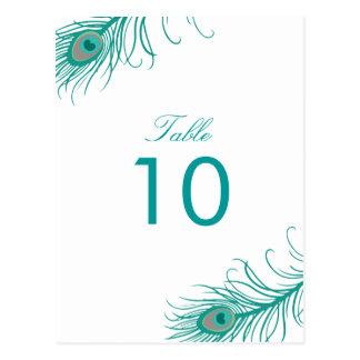 Elegant Peacock Table Numbers Postcard