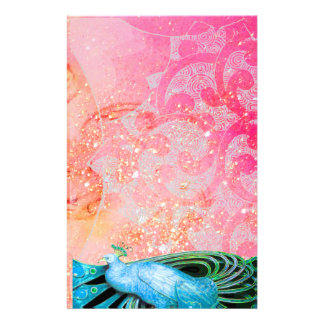 ELEGANT PEACOCK , TEAL BLUE SPARKLING PINK FUCHSIA STATIONERY