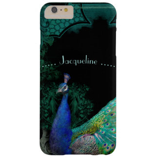 Elegant Peacock w Scrolls Personalized Designer Barely There iPhone 6 Plus Case