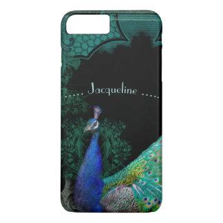 Elegant Peacock w Scrolls Personalized Designer iPhone 8 Plus/7 Plus Case