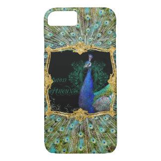 Elegant Peacock w Vintage Scrolls Baroque Roccoco iPhone 8/7 Case