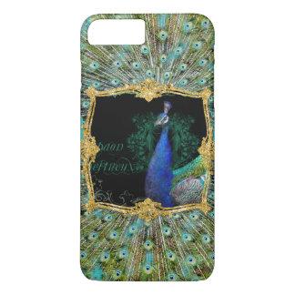 Elegant Peacock w Vintage Scrolls Baroque Roccoco iPhone 8 Plus/7 Plus Case