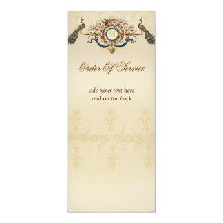 Elegant Peacock Wedding Ceremony Programs 4x9.25 Paper Invitation Card
