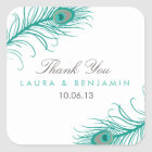 Elegant Peacock Wedding Favor Stickers