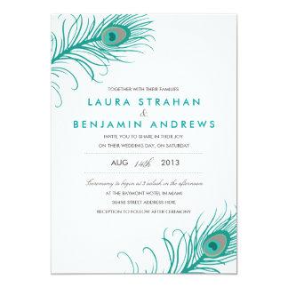 "Elegant Peacock Wedding Invitation 5"" X 7"" Invitation Card"