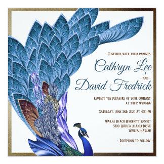 Elegant Peacock Wedding Invite Blue & Gold Foil