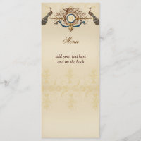 Elegant Peacock Wedding Menu Cards