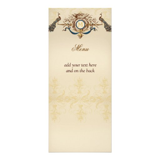 Elegant Peacock Wedding Menu Cards Announcement