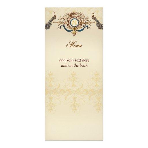 "Elegant Peacock Wedding Menu Cards 4"" X 9.25"" Invitation Card"