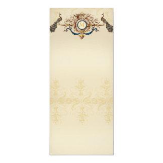 Elegant peacock wedding menus card