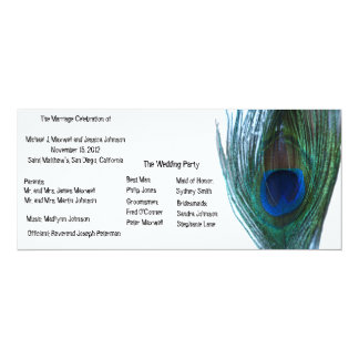 "Elegant Peacock Wedding Program 4"" X 9.25"" Invitation Card"
