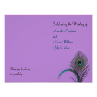 Elegant Peacock Wedding Program (purple)