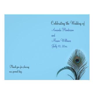 Elegant Peacock Wedding Program (turquoise) Full Color Flyer