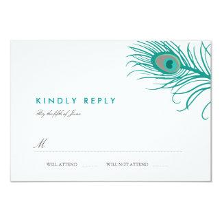 Elegant Peacock Wedding RSVP 3.5x5 Paper Invitation Card