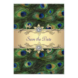 Elegant Peacock Wedding Save The Date 5x7 Paper Invitation Card