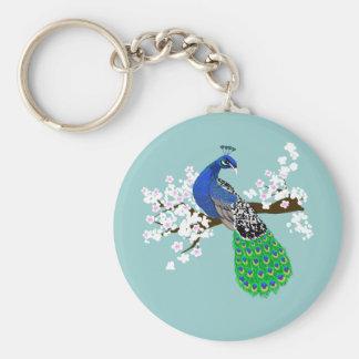Elegant Peacock with Sakura blossoms Keychain