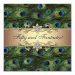 Elegant Peacock Womans 50th Birthday Party Personalized Announcement