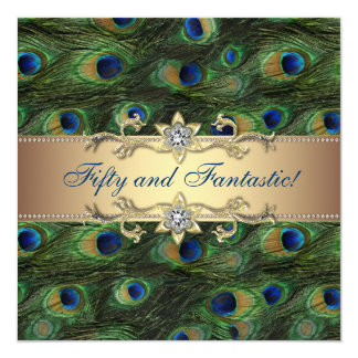 Elegant Peacock Womans 50th Birthday Party 5.25x5.25 Square Paper Invitation Card