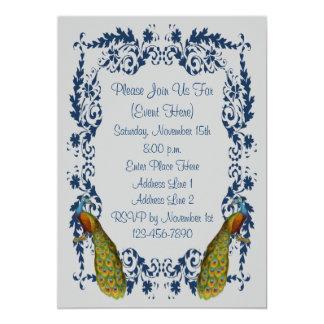 "Elegant Peacocks Blue Silver Design Invitation 5"" X 7"" Invitation Card"