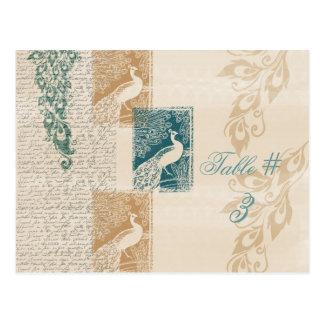 Elegant Peacocks Table Number Postcard