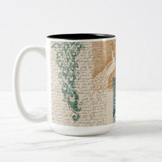 Elegant Peacocks Two-Tone Coffee Mug