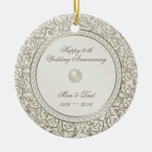 Elegant Pearl 30th Wedding Anniversary Photo Ceramic Ornament