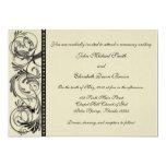 "Elegant Pearl and Black Wedding Invitation 5"" X 7"" Invitation Card"