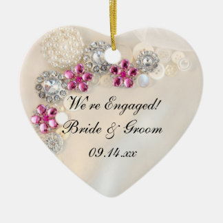 Elegant Pearl and Pink Diamond Button Engagement Ceramic Ornament