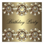 "Elegant Pearl Birthday Invitation 5.25"" Square Invitation Card"