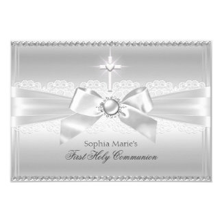 Elegant Pearl Bow & Cross First Holy Communion 3.5x5 Paper Invitation Card